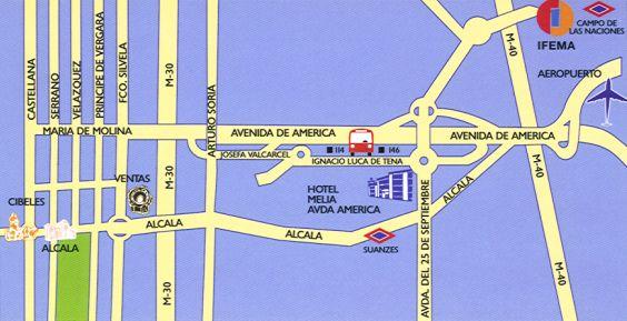 Plano de acceso de Hotel Melia Avenida America